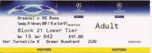 1 Biglietto Arsenal Roma